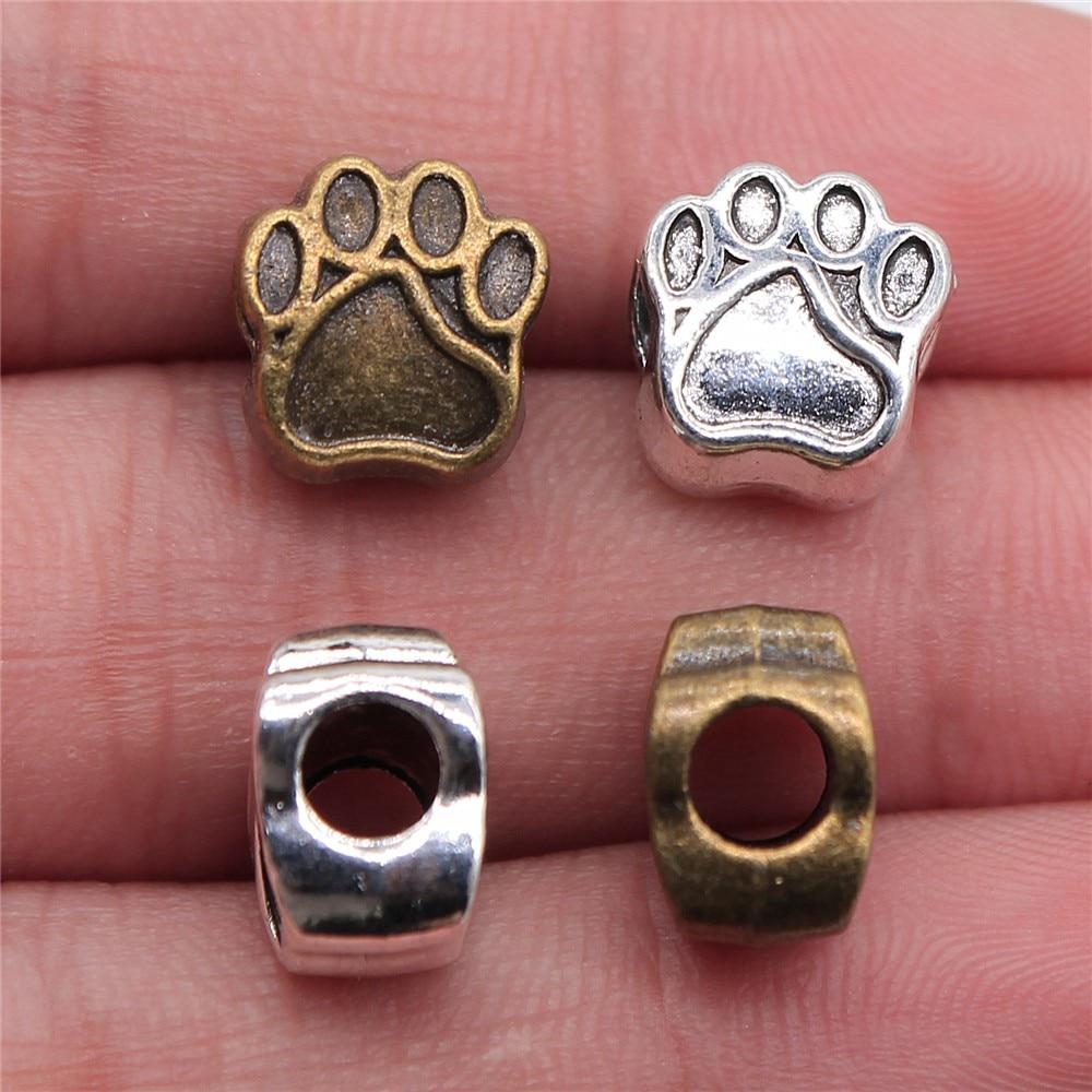 Wysiwyg 3 pçs 11x11x7mm pata do cão europeu grande buraco grânulos pata encantos pata encantos grânulos para fazer jóias