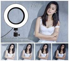 Светодиодная кольцевая лампа для селфи с регулируемой яркостью 3200-5500 K, фотографическая лампа для Iphone/Xiaomi/камеры с штативом