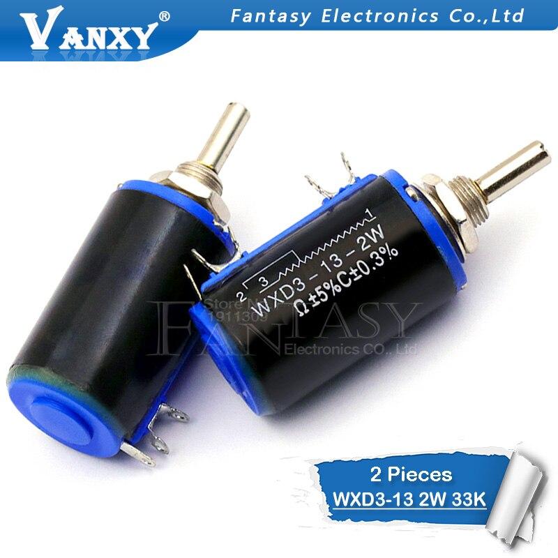 2 stücke WXD3-13-2W 33 karat ohm WXD3-13 2 watt Rotary side Rotary Multiturn Wirewound Potentiometer