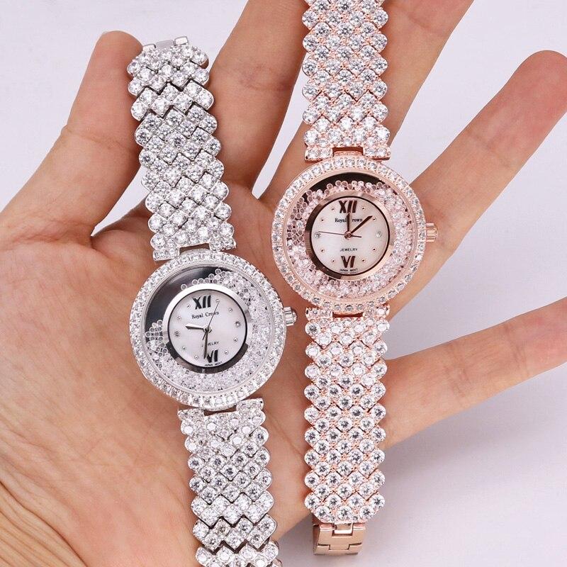 Prong Setting Luxury Jewelry Lady Women's Watch Fashion Full Crystal Hours Dress Bracelet Rhinestone Girl's Gift Royal Crown Box