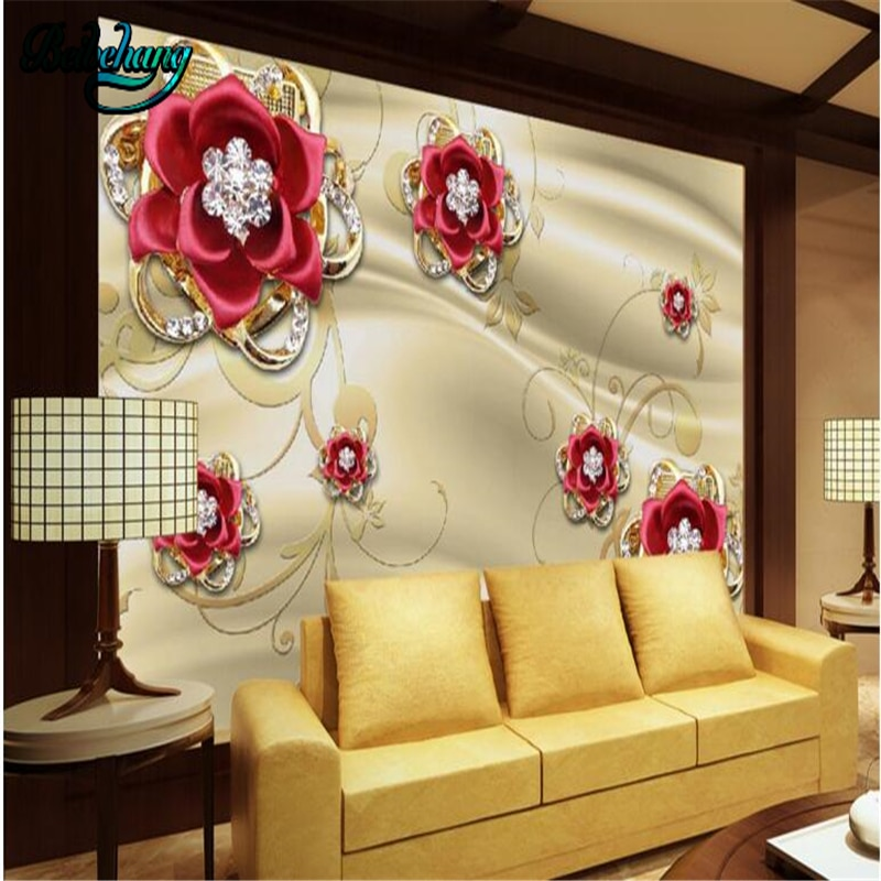 Fondo de pared de TV de rosa roja de diamante de joyería de oro Mural de papel pintado personalizado grande de beibehang
