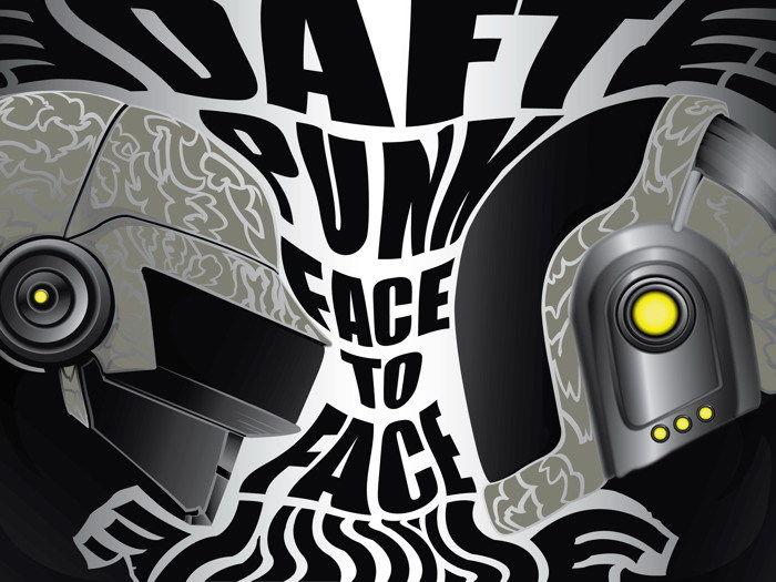 D0361 Daft Punk cara a cara arte música cascos-impresión de seda Póster Artístico de pared