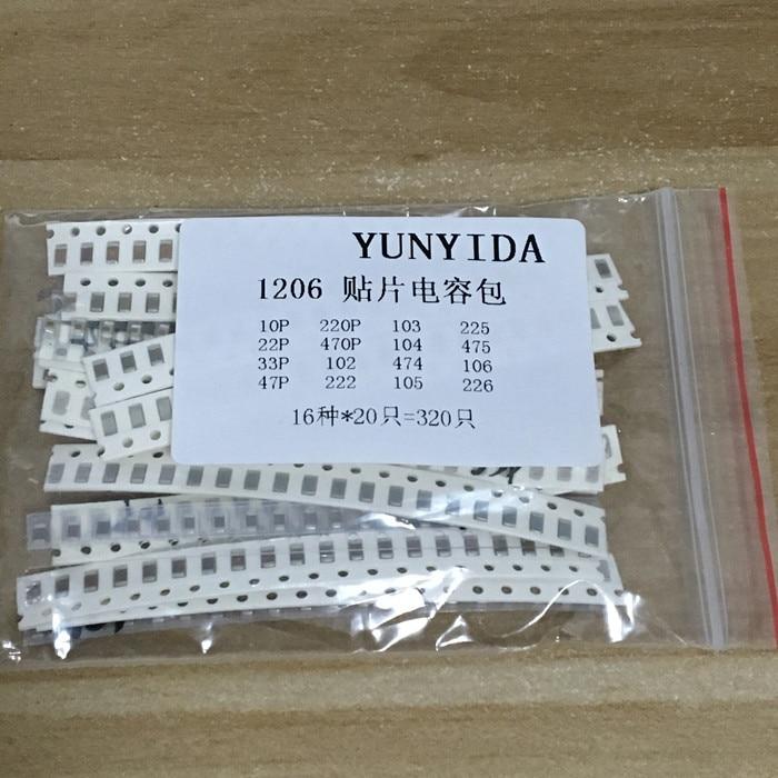 1206 SMD Capacitor assorted kit ,16values*20pcs=320pcs 10PF-22UF Samples kit
