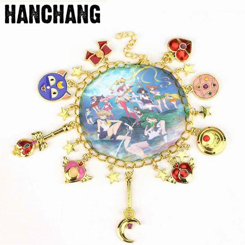 Cardcaptor ювелирные изделия Сакура Сейлор Мун Шарм браслет с эмалью звезды бант Pentacle Аниме Косплей-браслет для девочек Подарки