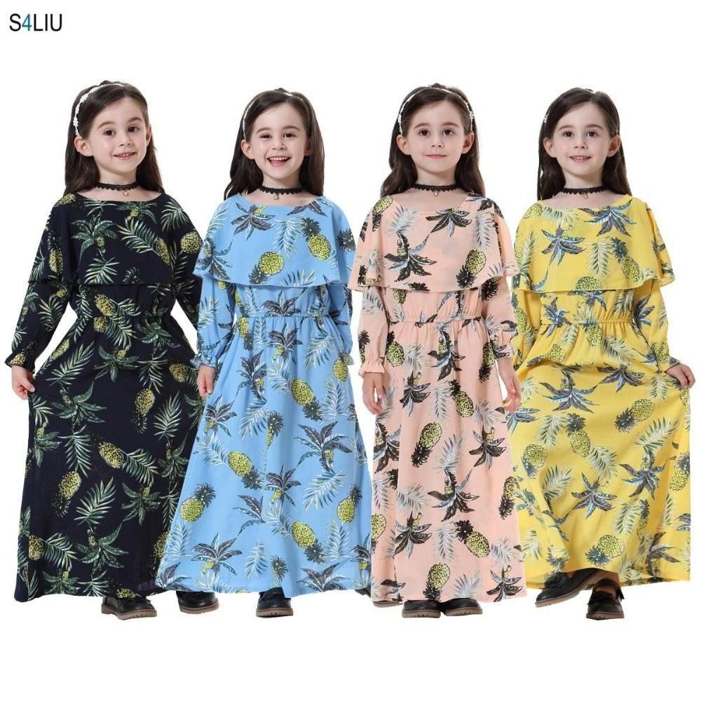 Fashion Muslim Children Abaya Girls Maxi School Dress Print Kimono Cute Jubah Middle East Arab Islamic Clothing Holiday Dresses