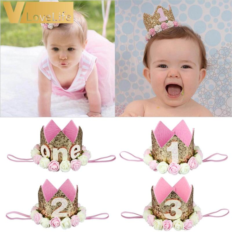 Chapeaux décoratifs Happy premier anniversaire   Casquette pour fête danniversaire, chapeau de princesse, couronne pour petits enfants 1er 2ème et 3ème ans, accessoire pour cheveux