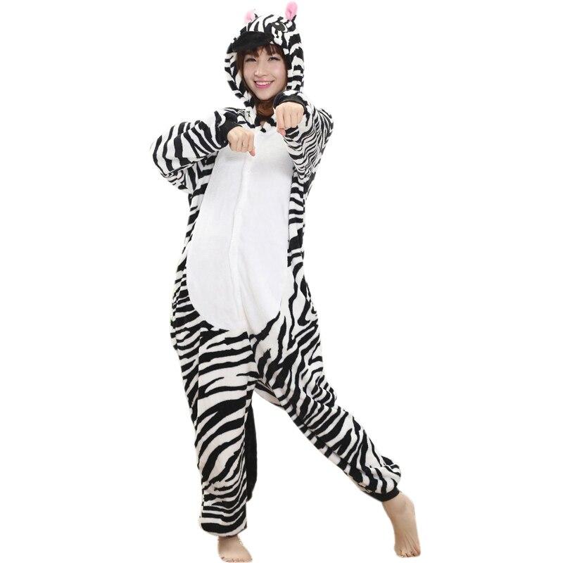 Zebra kigurumi pijamas animais feminino onesias para adultos terno geral flanela dos desenhos animados pijamas de uma peça halloween cosplay