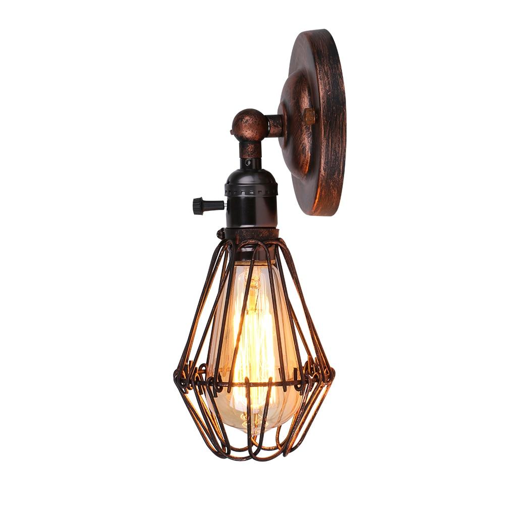 Lámpara Retro Loft Creative Cage lámpara de pared de hierro E27 comedor interior pasillo Pub café lámpara de pared aplique de pared