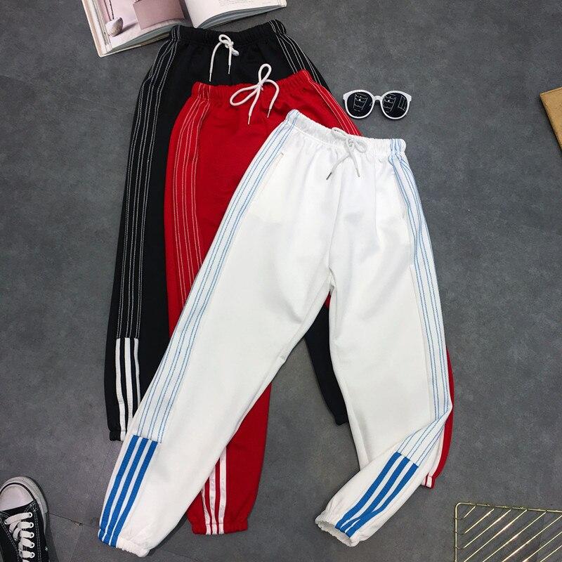 Harem Pants hip hop fashion large size S-2XL loose beam legs solid color Ankle-Length Pants women's couple Harajuku pants