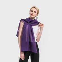 New Fashion Purple Navy Hijab Head Scarfs Viscose Womens Plain Color Glitter Sequins Scarf
