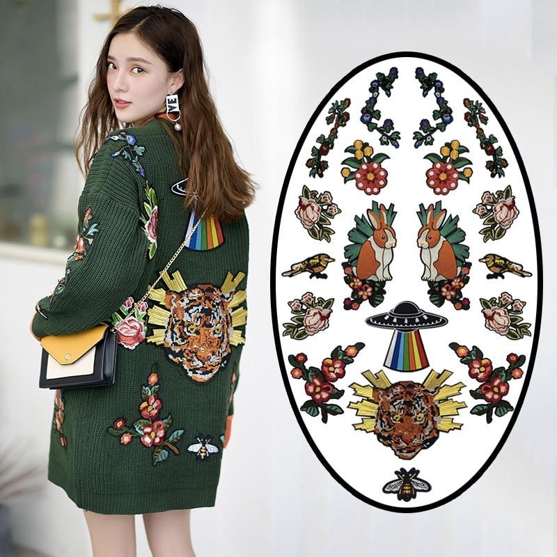 Aplique de hierro bordado en caliente, flor de lentejuelas, Tigre, pájaro, abeja, conejo apliques, parches para ropa LSHB666