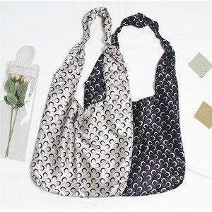 Satin Polyester Thin Eco Shopping Tote Cross Boday Bag Print Moon Black White CYA60