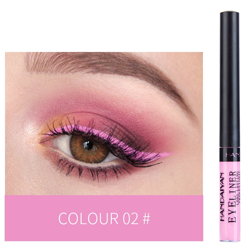 Handaiyan 12 cores à prova dwaterproof água líquido delineador maquiagem preto branco cor rosa brilho olho forro maquiar china maquiagem tslm2