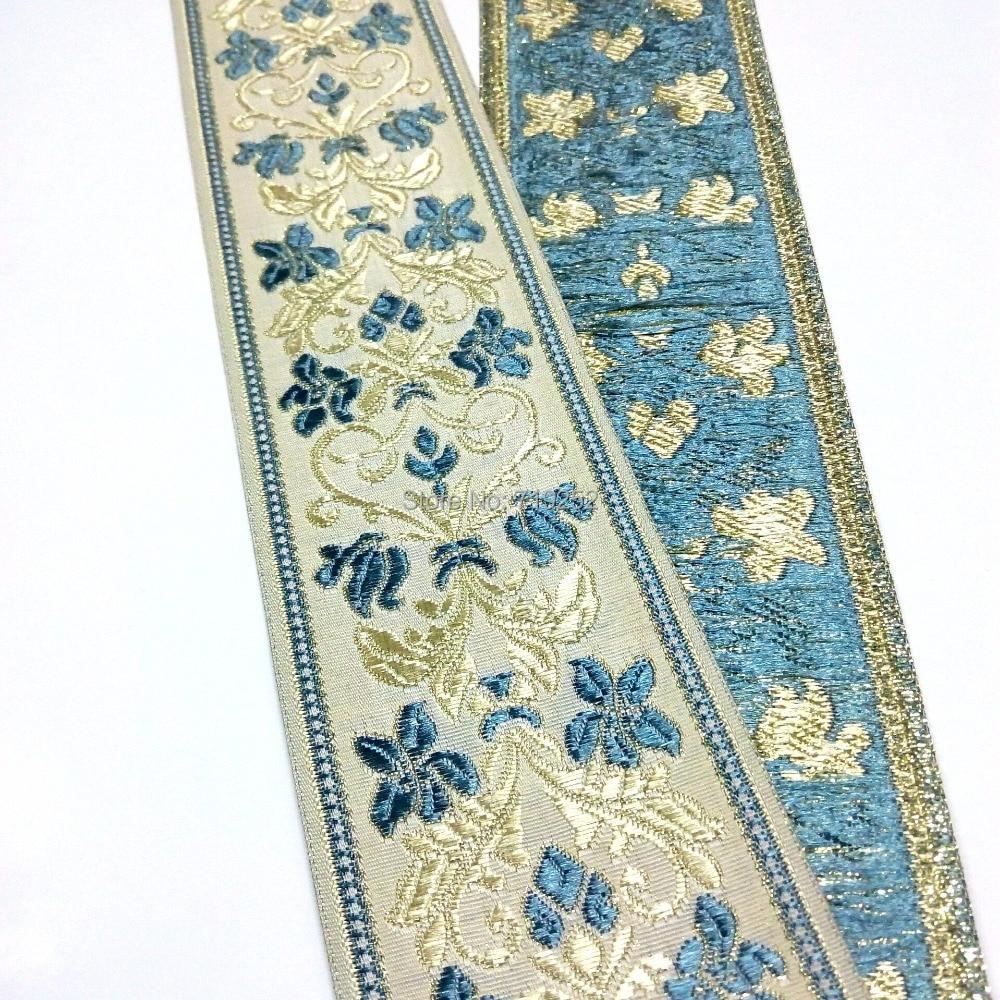 84 см длина 6 см 62 мм 2-1/2 Цветочный голубой светло-золотой мерсеризированный элегантный занавес кружевная национальная жаккардовая лента вы...