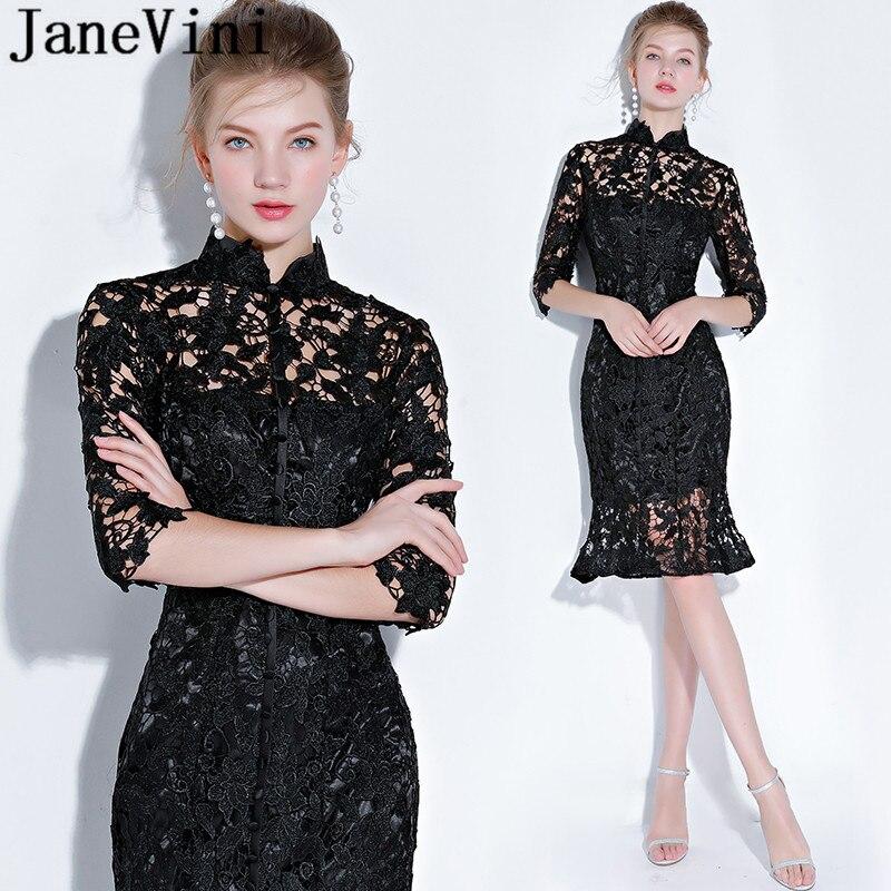 JaneVini-vestido de encaje negro Vintage para madre de la novia, vestido de...