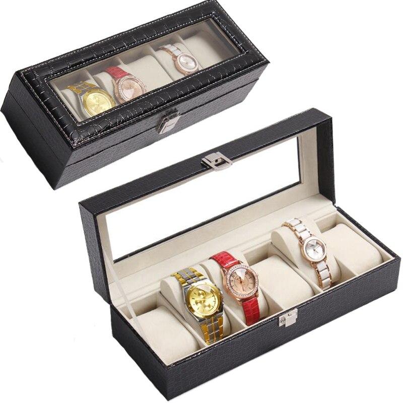 6 Slot Leather Watch Box Display Case Organizer Glass Jewelry Storage Black Luxury Design Men Women Watches Display Case