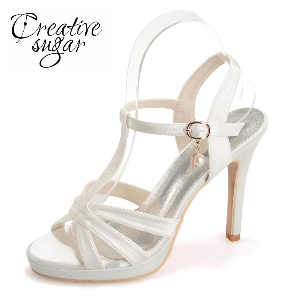 Creativesugar satin T strap sandals strappy stiletto heels platform summer satin dress shoes blue champagne white ivory black