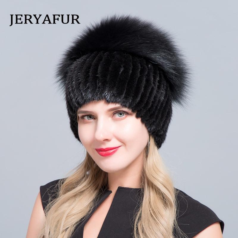 Chapéu de pele de vison real chapéu de pele de raposa de prata pom poms de malha beanie hat 2018 nova venda de chapéus de pele