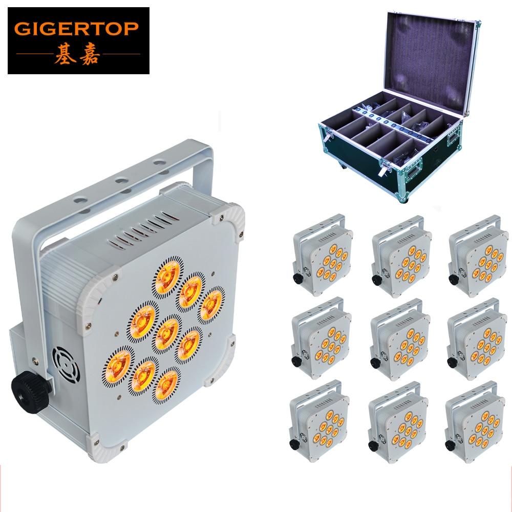 10 pcs/lot 9x18 W RGBWA UV 6IN1 plat Led Par lumière en aluminium blanc boîtier batterie DMX512 sans fil PCB récepteur 2.4G étui de vol