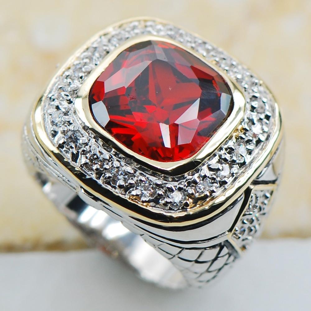 Garnet 925 Sterling Silver Top Quality Fancy Jewelry wedding Ring Size 6 7 8 9 10 F1161