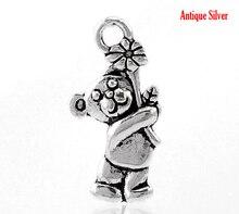 "Doreen Box Lovely 100PCs Silver Color Bear Flower Charm Pendants 19x9mm(6/8""x3/8"") (B21690)"