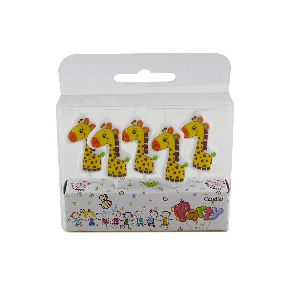 5 uds velas de jirafa de dibujos animados Topper para tarta de feliz cumpleaños pastel velas de decoración en los niños suministros de fiesta Wild Zoo Globos