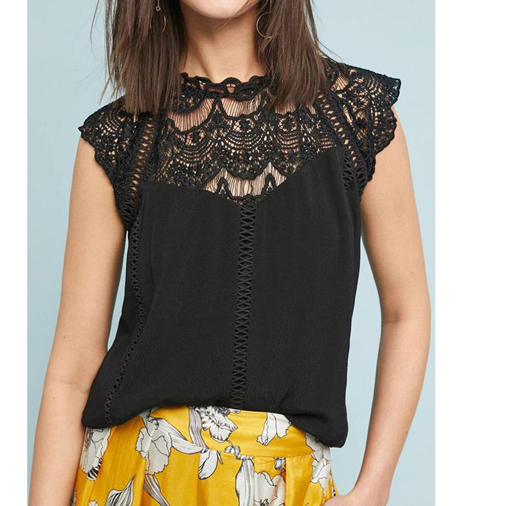 Elegant embroidery white lace tops Women sleeveless chiffon tops Sexy summer style tank tops female tops