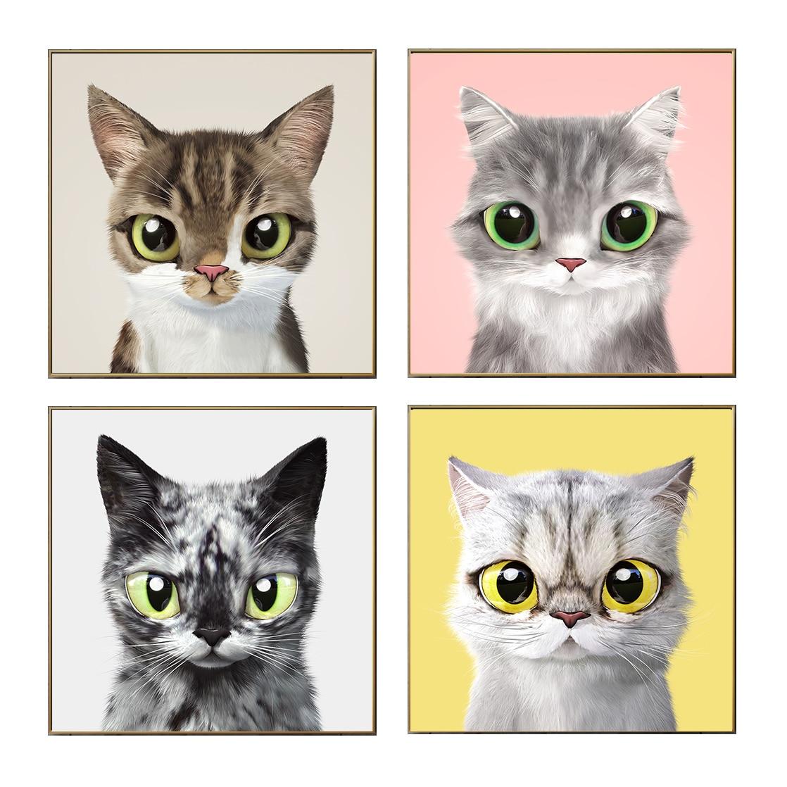 Póster de gato bonito, decoración de estilo nórdico para niños, arte moderno, Impresión de pared, Cuadros para sala de estar, Cuadros de pintura, decoración