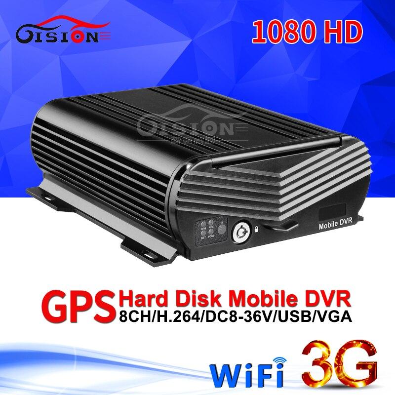 GISION 3G GPS WIFI AHD móvil Dvr 8CH vídeo/Audio entrada 1080N HDD Mdvr control remoto de vigilancia en tiempo Real GPS posicionamiento Registro de coche