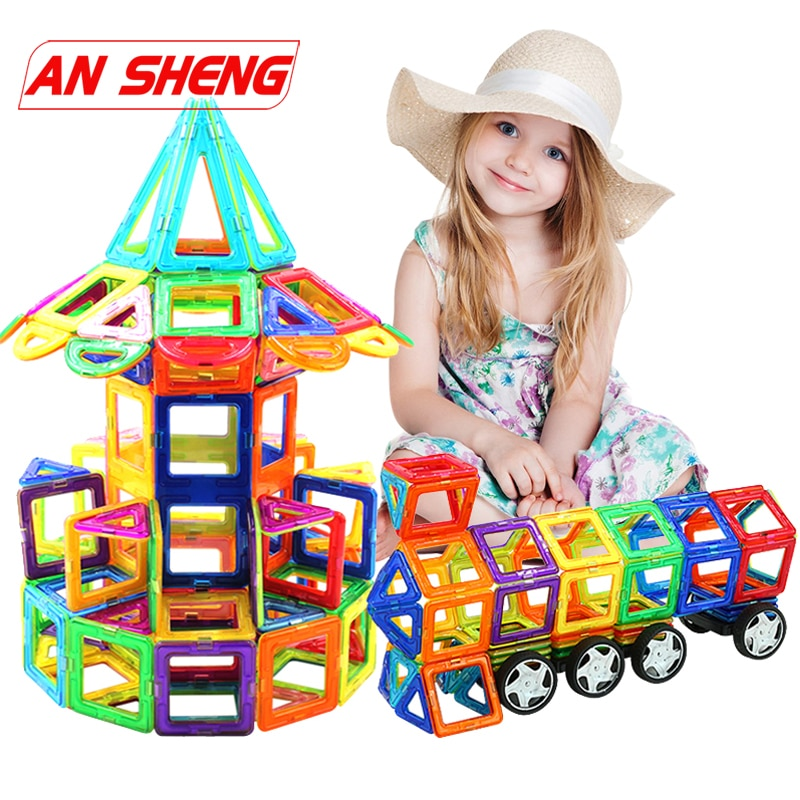 Novo 20-111 pçs tamanho grande diy blocos magnéticos construtor magnético crianças ímã designer para crianças presente brinquedos educativos menino menina