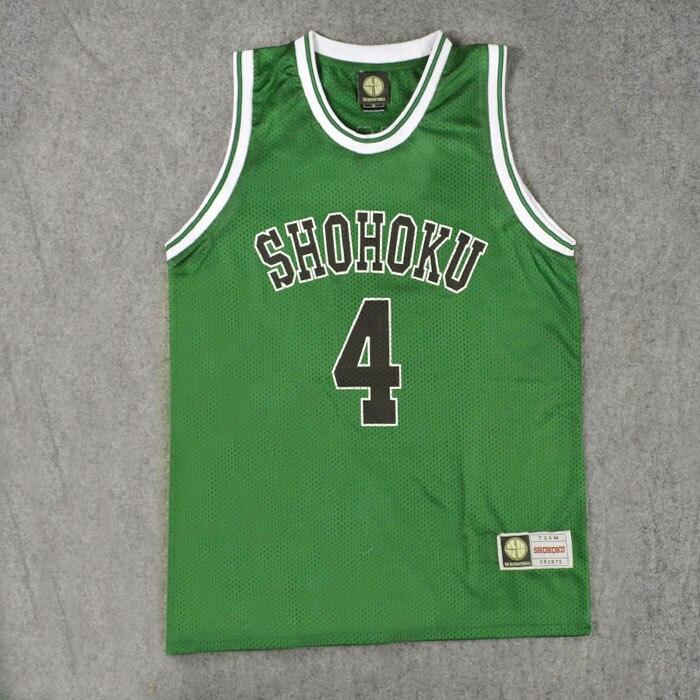 Equipo de la escuela del Anime Shohoku, camiseta, Tops, camisa 4-14 Sakuragi Hanamichi, uniforme SLAM DUNK, Cosplay de hombres, verde, Talla M L XL XXL