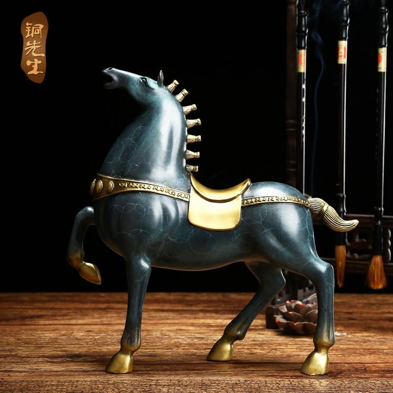 $990 # Edición Limitada #26 CM gran casa Oficina buen arte Trabajo # hecho a mano de color de la suerte estatua de caballo feng shui de latón