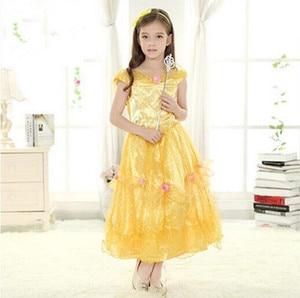 birthday dress girls costumes performance wear yellow princess costume fairy tail costume birthday party costume evening dress
