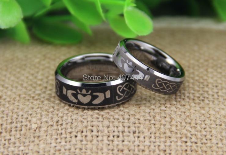 Free Shipping USA UK Canada Russia Brazil Hot Sales 6MM/8MM Silver Bevel IRISH CLADDAGH Mens New Fashion Tungsten Wedding Rings