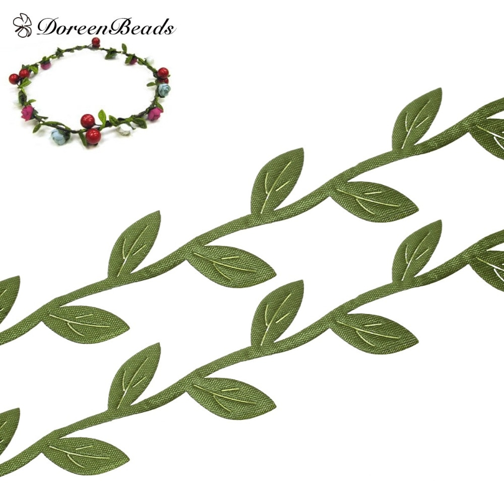 10M/pc Fabric Leaf Garland Lace Ribbons Webbing Trim Green Sewing Fabric Home Craft Supply DIY handmade 23mm width