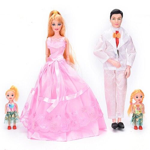 4 unids/set muñecas niños regalos de navidad extraíble familia feliz bebé Kawaii paquete articulaciones Playmate Ken muñeco Príncipe novio juguete
