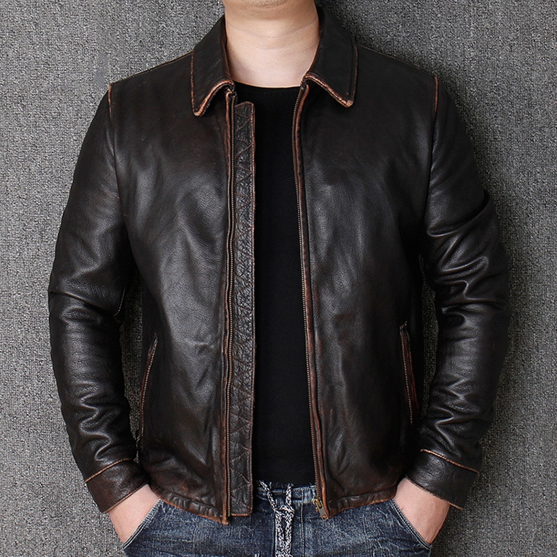 2021 Russian Mens Real Leather Cow Leather Jacket Coats Luxury Brand Biker Man Genuine Leather Dress Suit Coat Male Winter Coat