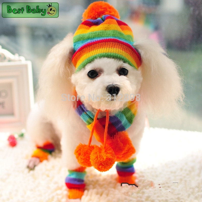 Winter Pet Puppy Accessories For Dogs Knitted Striped Hats Scarf Socks Little Small Big Animals York