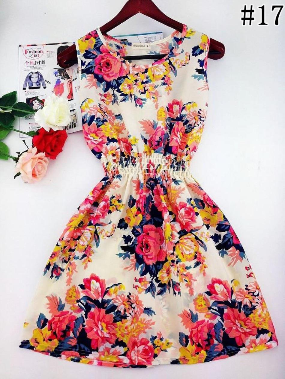 2017 lato jesień nowe koreańskie kobiety dorywczo czeski kamizelka bez rękawów lamparta kwiatów drukowane plaża chiffon dress vestidos wc0344 1