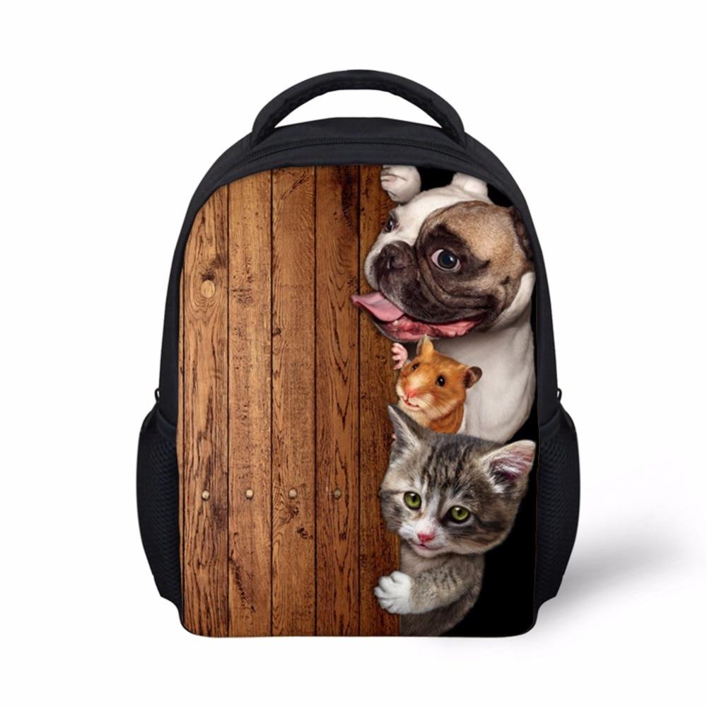 Imagens personalizadas Animais Rato Do Gato Do Cão Colorido de Impressão Sacos de Escola Meninos Bagpack 12 Polegada Criança Crianças Mochila Do Vintage Elegante