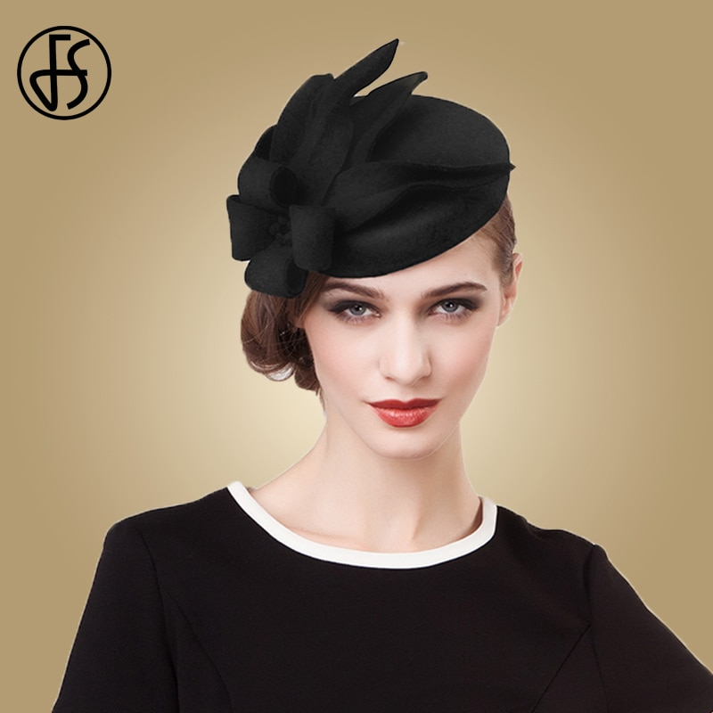 FS Fascinators para mujeres elegante flor pastillero negro sombrero lana fieltro sombreros Vintage vestido de boda Fedoras Iglesia señoras sombreros formales