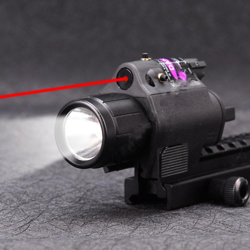 Luz de linterna táctica 2 en 1 + mira de punto de mira láser rojo Combo para pistolas pistola de tiro Camping Luz de caza
