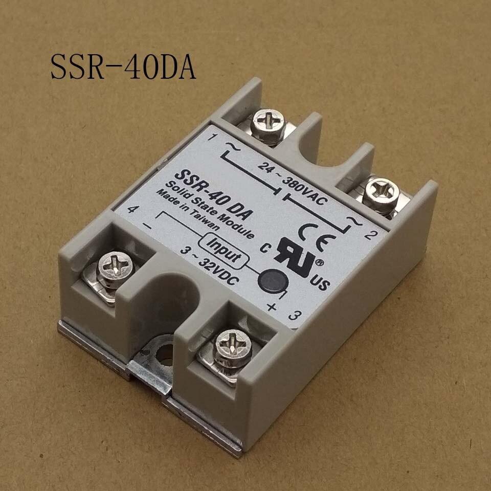 24V-380V 40A 250V SSR-40DA Solid State Relay Module 3-32V DC To AC SSR-40 DA SSR 40A Plastic Cover Case Factory Wholesale