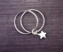 ANENJERY – bague fine en argent Sterling 925, accessoire de mode Simple, étoile à deux couches de tempérament pour femmes, S-R53
