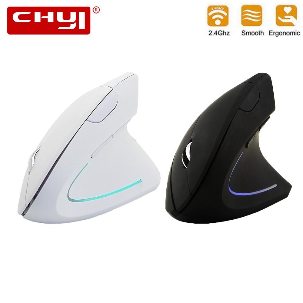 Chyi ergonômico mouse vertical sem fio 1600 dpi computador óptico mause gamer 5d led jogos de ratos com jogo de almofada do mouse para computador portátil