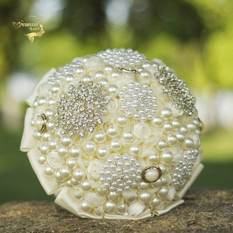 Ramos de flores Artificiales Para Boda, perlas lujosas, cristal, champán, WP333