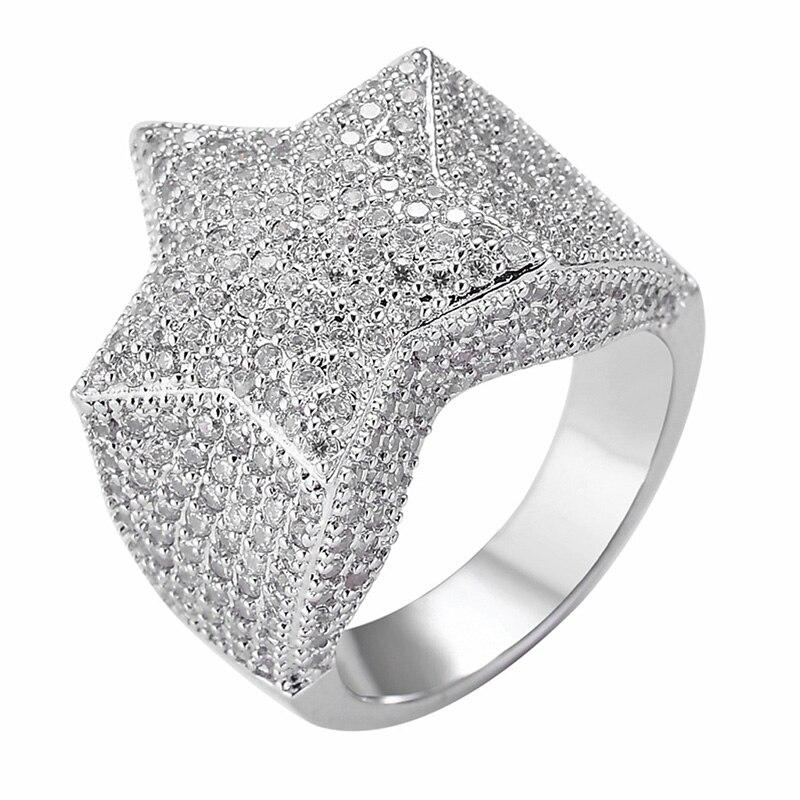 Anillos de moda Hip Hop para hombre con estrella de cinco puntas, anillos de circonita Micro pavé para hombres y mujeres