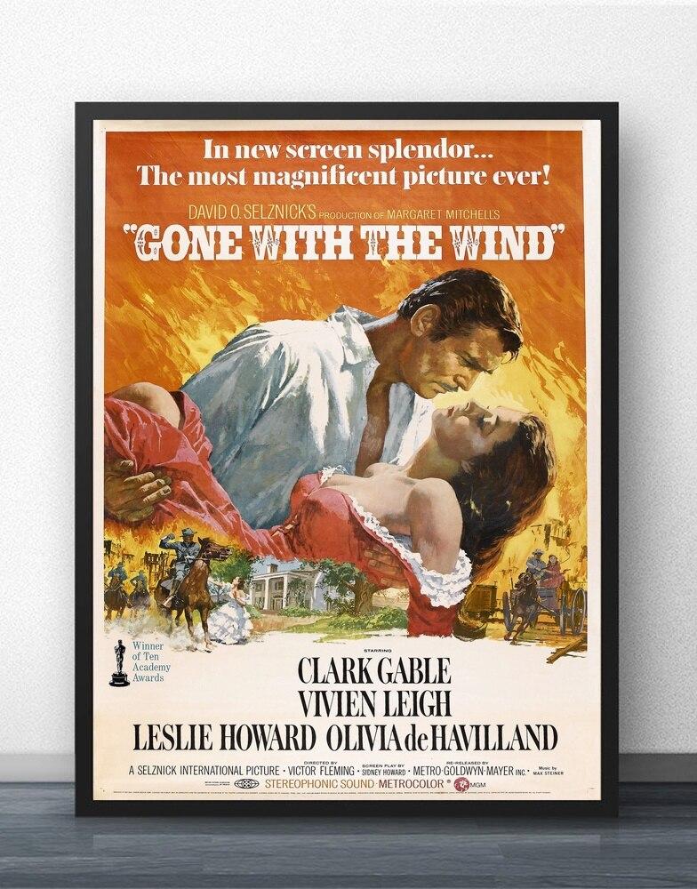 Gone With the Wind Movie, pintura de arte de pared, decoración de pared, impresiones en lienzo, póster de arte, pinturas al óleo sin marco