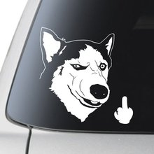 Ciddi Husky Köpek Saygısız Parmak Vinil DIY araba styling Kalıp kesim laptop etiketi Parodi Sibirya Husky Komik yüz 6 ''geniş beyaz