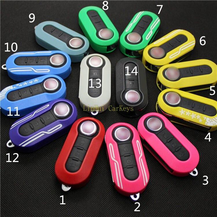 1PC PINECONE Key Case for FIAT 500 PANDA PUNTO BRAVO Car Key 3 Buttons Remote Key 14 Colors Blank Key Shell Cover